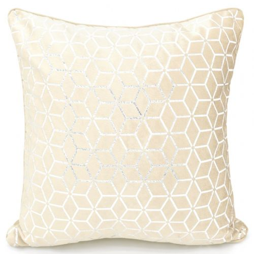Large Geometric Shimmer Glitzy Metallic Foil Print Design Filled Scatter Cushion Cream